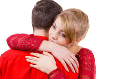 Couple. Woman is sad and being consoled by his partner Royalty Free Stock Image