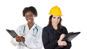 Couple of woman workers. Isolated over white stock photos