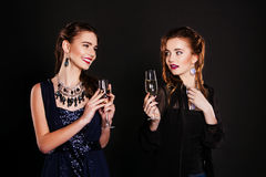 Couple of women celebrating and toasting birthday. Stock Photo