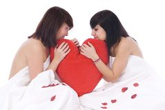 Couple of women in love with heart Stock Photo