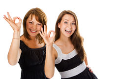 Couple women show sign ok Royalty Free Stock Image