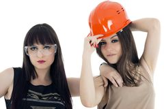 Couple of women workers isolated Stock Photography