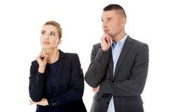 Couple wondering about their corporation Stock Photos