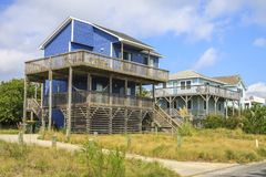 Housing on the Outer Banks. A couple of wooden Beach houses on the Outer Banks, Corolla, North Carolina Stock Images