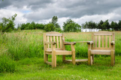 Couple of Wooden Chairs Outdoor Stock Images