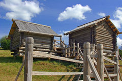Couple of wooden houses Stock Images