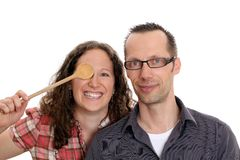 Couple with  wooden spoon Royalty Free Stock Photography
