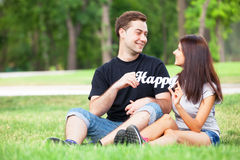 Couple with word Happy Royalty Free Stock Images