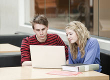 Couple working. Couple in front of a computer Royalty Free Stock Images