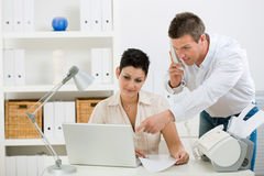 Couple Working At Home Office Stock Photography