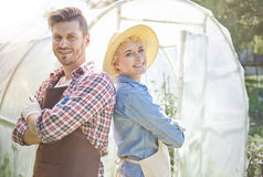 Couple working at garden royalty free stock photo