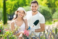 Couple  working in the gardens Royalty Free Stock Image