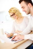 Couple working on home budget Royalty Free Stock Image