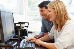 Couple working in home office Royalty Free Stock Photography