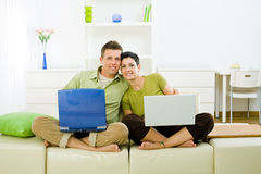 Couple working on laptop Royalty Free Stock Image