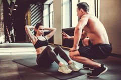 Couple working out stock images