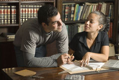 Couple Working on Paperwork - Horizontal Royalty Free Stock Image