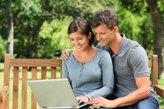 Couple working on their laptop Stock Photography