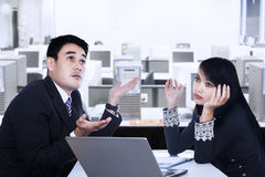 Couple Working Together On Desk Royalty Free Stock Photo