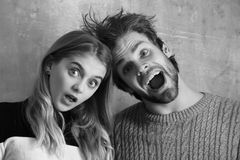 Wow Surprised man and woman with open mouth, young couple. Couple. Wow, Surprised men and women with open mouth, young couple royalty free stock image