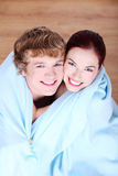 Couple wrapped in blanket. Royalty Free Stock Photo