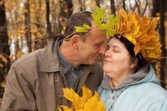 Couple with wreath of maple leaves face to face Royalty Free Stock Image