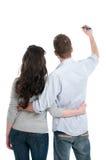 Couple writing your text Stock Photos