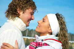 Couple in wynter park. Young romence couple wants to kiss in Winter Park Stock Photography