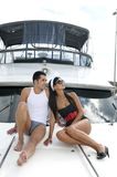 Couple in a yacht Stock Photo