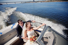 Couple on the yacht Stock Images