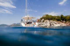 Couple yacht honeymoon sailing luxury cruise Stock Photography