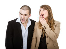 Couple yawning Royalty Free Stock Image
