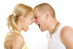 Couple yelling at each other Stock Images