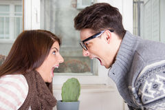 Couple yelling at each other shouting face to face Stock Photography