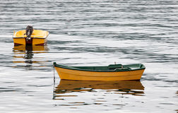 Couple of yellow boats Royalty Free Stock Photos