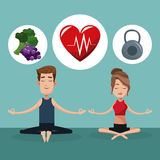 Couple yoga exercise food healthy Royalty Free Stock Photos
