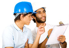 Couple of young architects Stock Photos