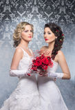 A couple of young and attractive brides in white clothes Royalty Free Stock Photo