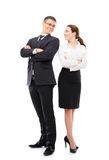 Couple of young business people isolated on white Stock Photos