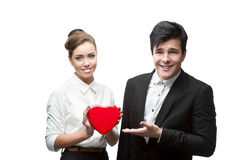 Couple of young business people Royalty Free Stock Photo