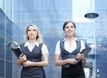A couple of young Caucasian businesswomen Stock Photos