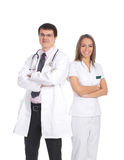 A couple of young Caucasian doctors in white Royalty Free Stock Images