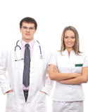 A couple of young Caucasian medical workers Stock Image