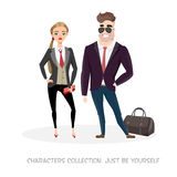 A couple of young characters in business suits. Royalty Free Stock Photography