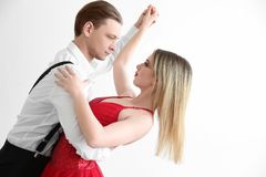 Couple of young dancers. On white background Stock Photography