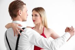 Couple of young dancers. On white background Royalty Free Stock Images