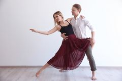 Couple of young dancers. On white background Stock Images