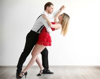 Couple of young dancers. On white background Royalty Free Stock Photography
