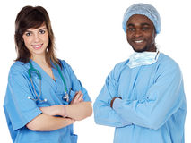 Couple of young doctors Royalty Free Stock Photo