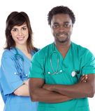 Couple of young doctors Royalty Free Stock Images